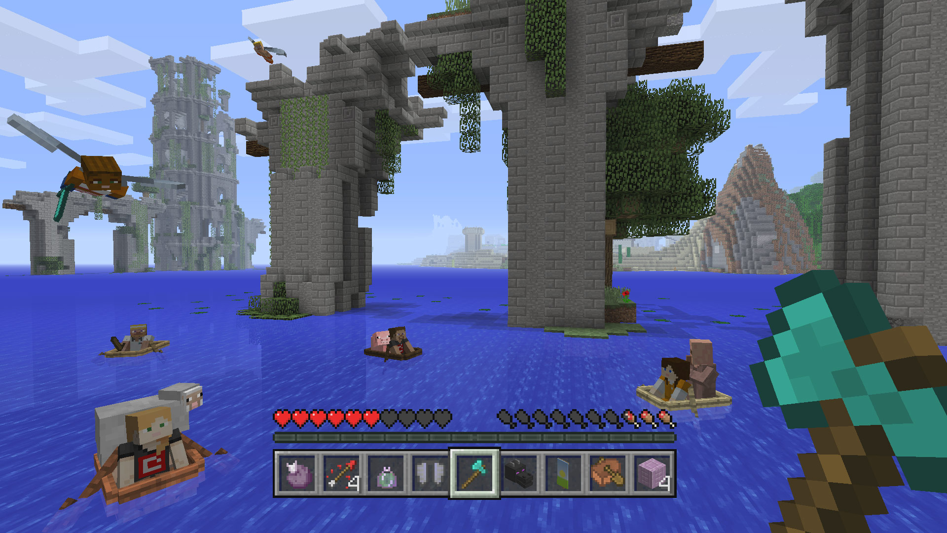 Minecraft Consoles Boating through ruins and promo for Jazwares Minecraft 2017 Figures at Toy Fair 2017