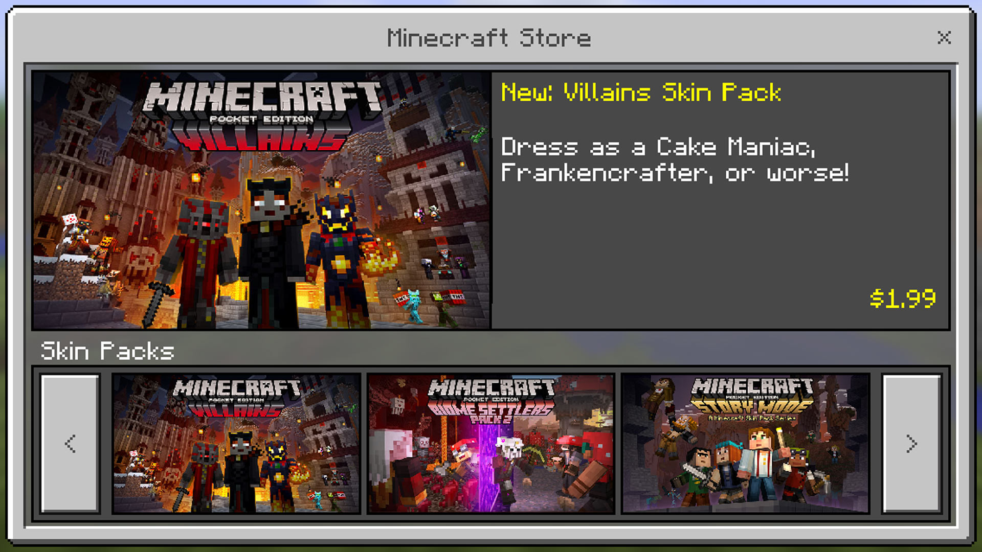 Minecraft Pocket Edition Villains Skin Pack Gamerheadquarters Article - Skins fur minecraft windows 10