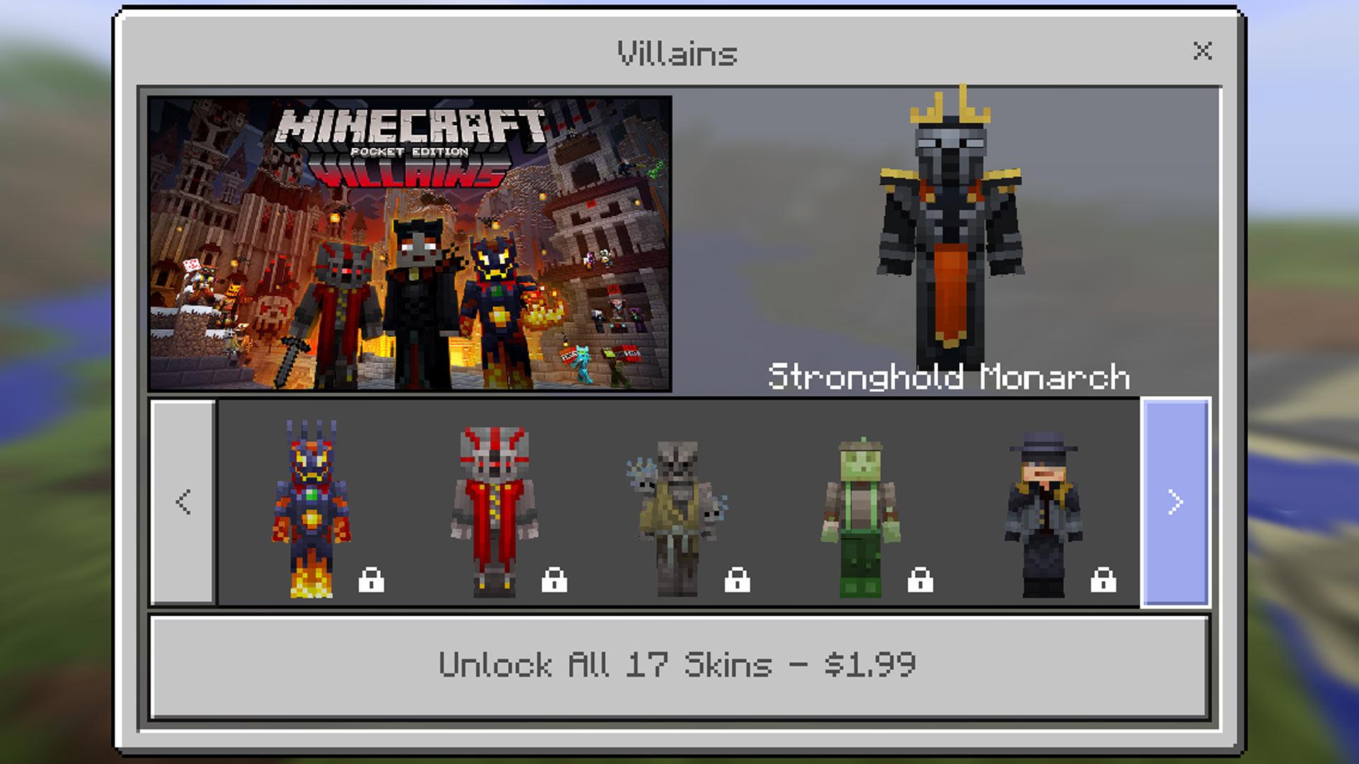 Minecraft pocket edition villains skin pack