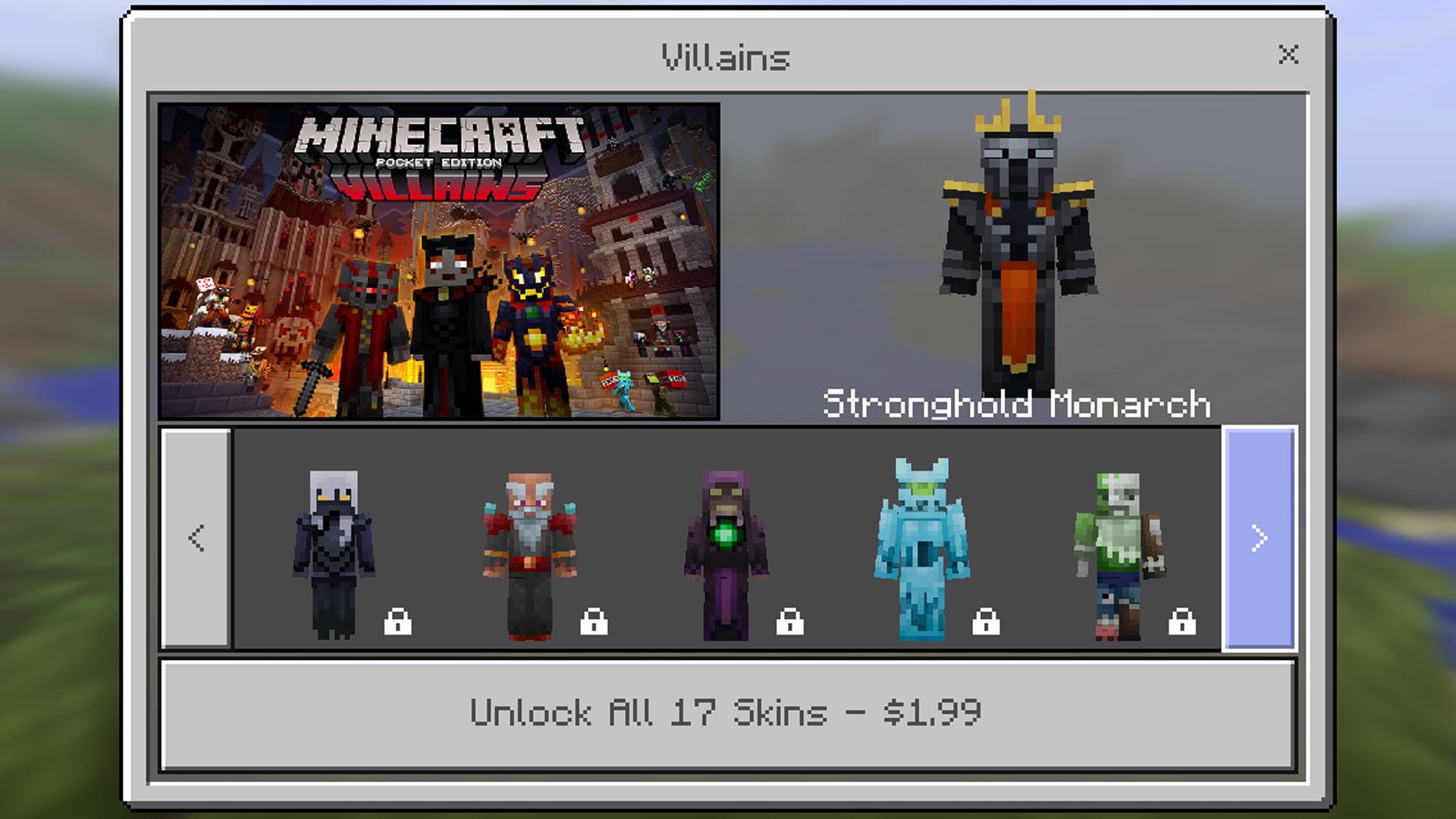Minecraft Pocket Edition Villains Skin Pack Gamerheadquarters Article - Skins para minecraft pe jason