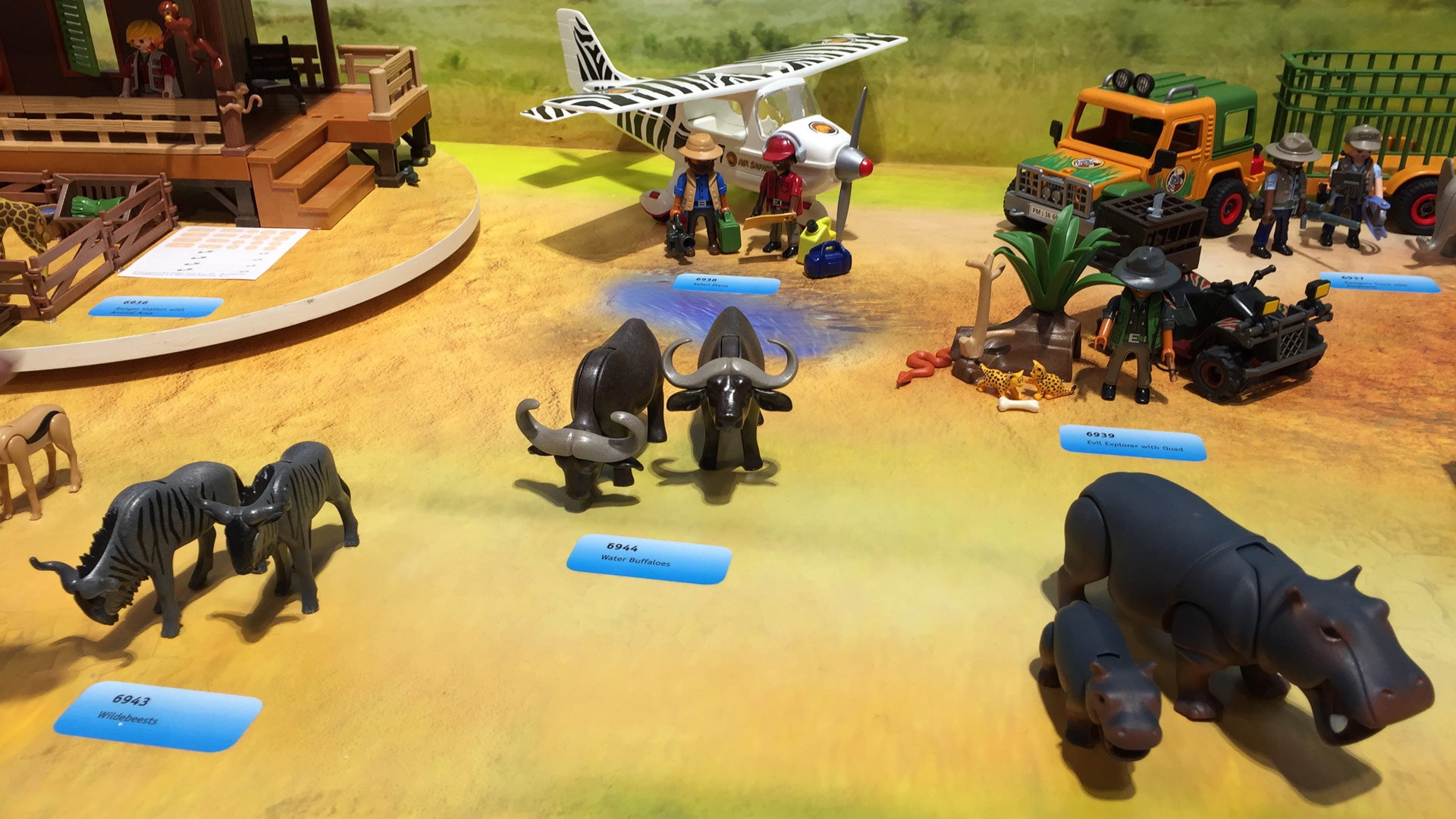 Playmobil Wildlife Sets 6943 Wildebeests, 6944 Water Buffaloes, 6945 Water Hippo with Calf, 6939 Evil Explorer with Quad at Toy Fair 2017